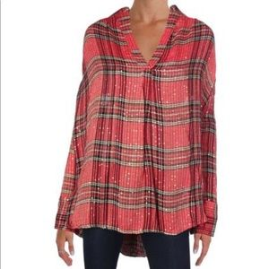 Free People Plaid Sequin Embellished Henley Top
